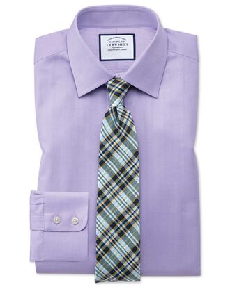 Extra slim fit fine herringbone lilac shirt