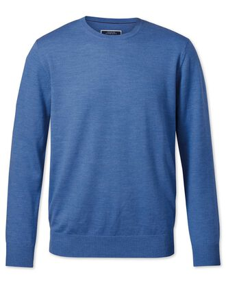 Blue merino wool crew neck jumper