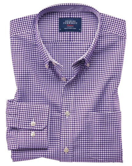 Extra slim fit button-down non-iron Oxford gingham purple stripe shirt