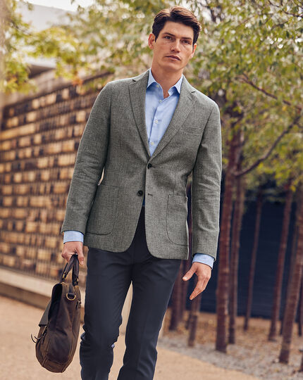 Wool Cotton Linen Suit Jacket - Grey