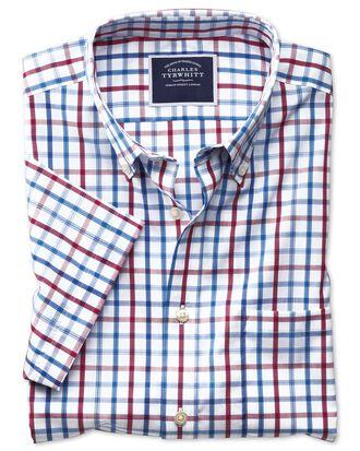 Chemise rouge en popeline slim fit à carreaux, manches courtes et col boutonné sans repassage