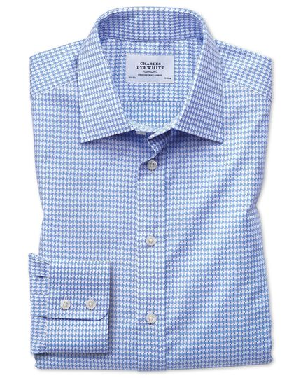 Slim fit large puppytooth sky blue shirt