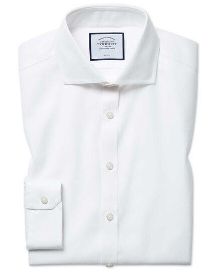 Super slim fit non-iron cutaway white Oxford stretch shirt