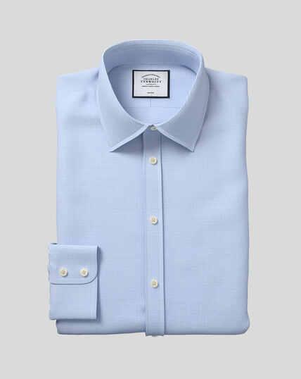 Bügelfreies Hemd mit Kent-Kragen und Hahnentrittmuster  - Himmelblau