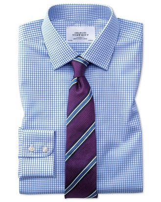Classic fit non-iron grid check sky blue shirt