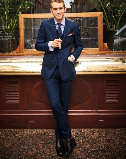 Pantalon de costume de luxe bleu marine en sergé britannique slim fit