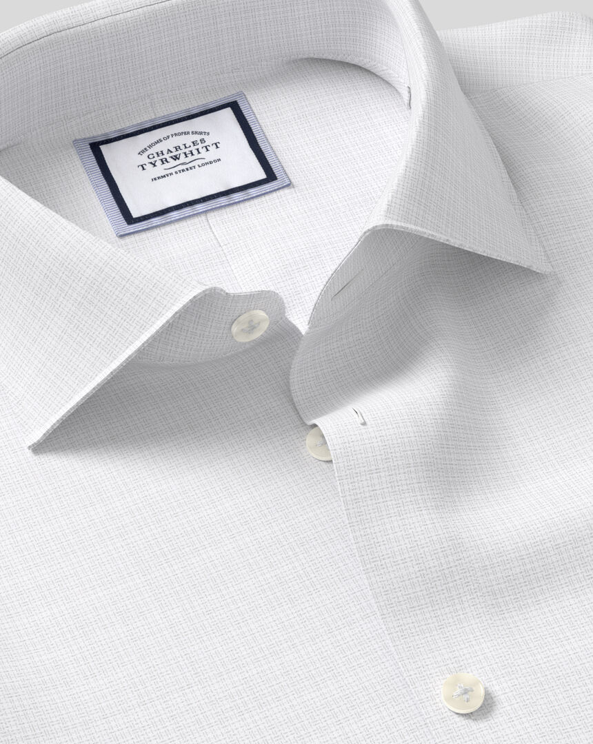 Business Casual Collar Non-Iron Natural Stretch Sketch Shirt - Grey