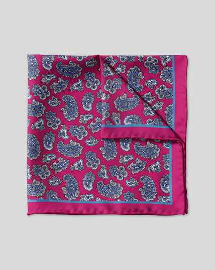 Paisley Print Pocket Square - Magenta