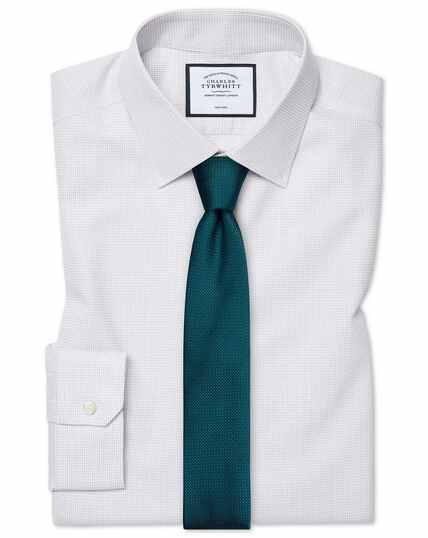 Super slim fit non-iron dash weave grey shirt