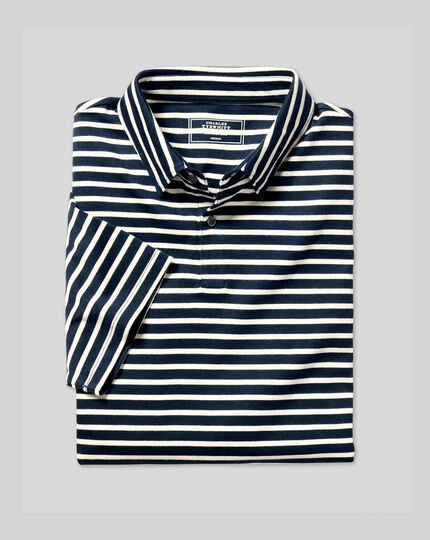 Smart Jersey Stripe Polo - Navy & Ecru