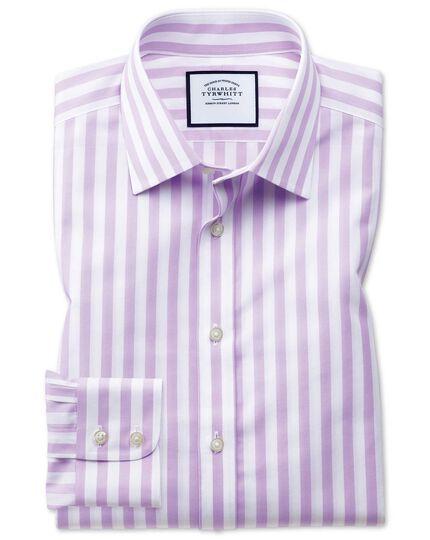 Slim fit non-iron purple wide bengal stripe shirt