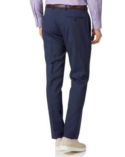 Navy slim fit step weave suit trousers