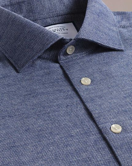 Slim fit business casual navy circle pattern soft cotton shirt