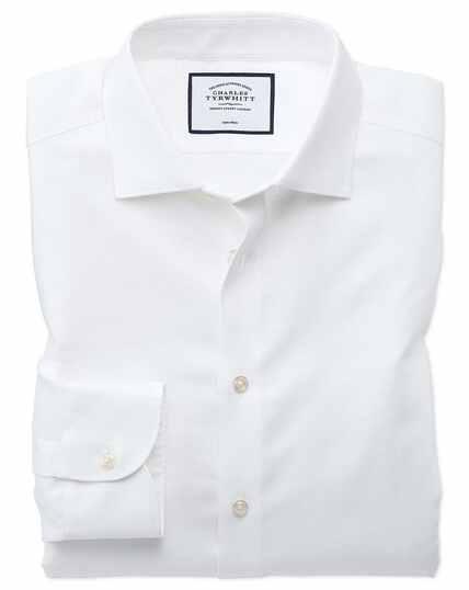 Chemise business casual blanche en coton et lin extra slim fit sans repassage