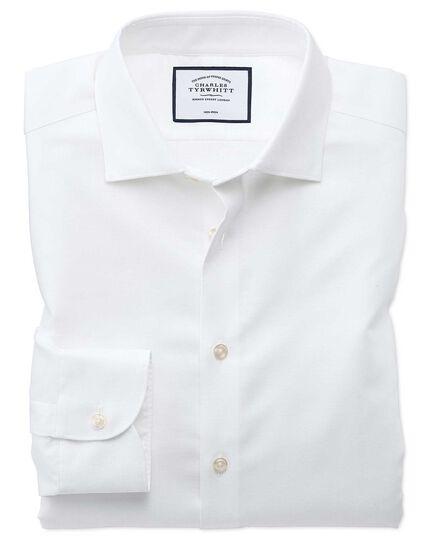 Business-Casual-Hemd Extra Slim Fit Bügelfrei Baumwolle/Leinen in Weiß