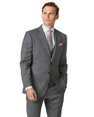 Light grey slim fit sharkskin travel suit jacket
