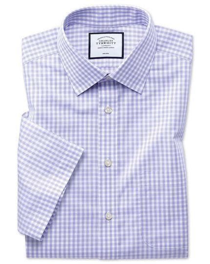 Classic fit non-iron Tyrwhitt Cool poplin short sleeve purple shirt