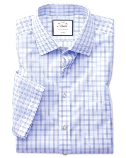 Classic fit non-iron sky blue check natural cool short sleeve shirt