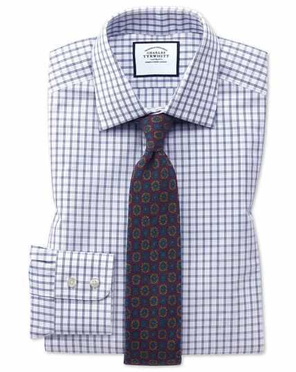 Slim Fit Hemd mit Windowpane-Karos in Blau