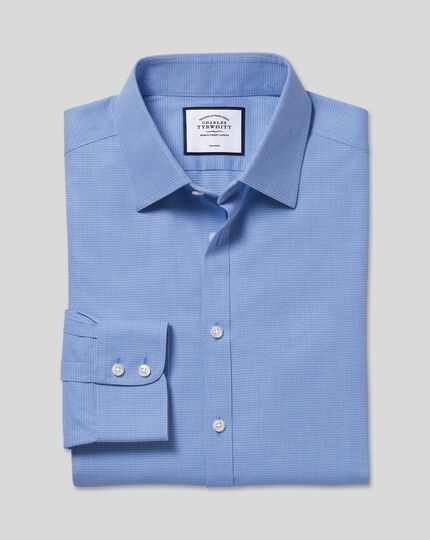 Non-Iron Mini Herringbone Shirt - Blue