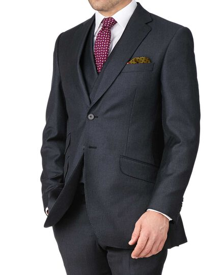 Blue slim fit British serge puppytooth luxury suit jacket