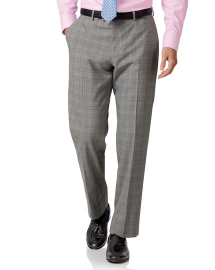 Grey Prince of Wales classic fit Panama business suit trousers