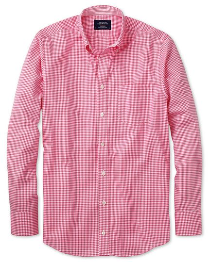 Classic fit button-down non-iron Oxford gingham pink shirt