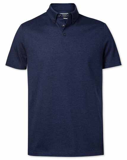 Navy cotton linen polo