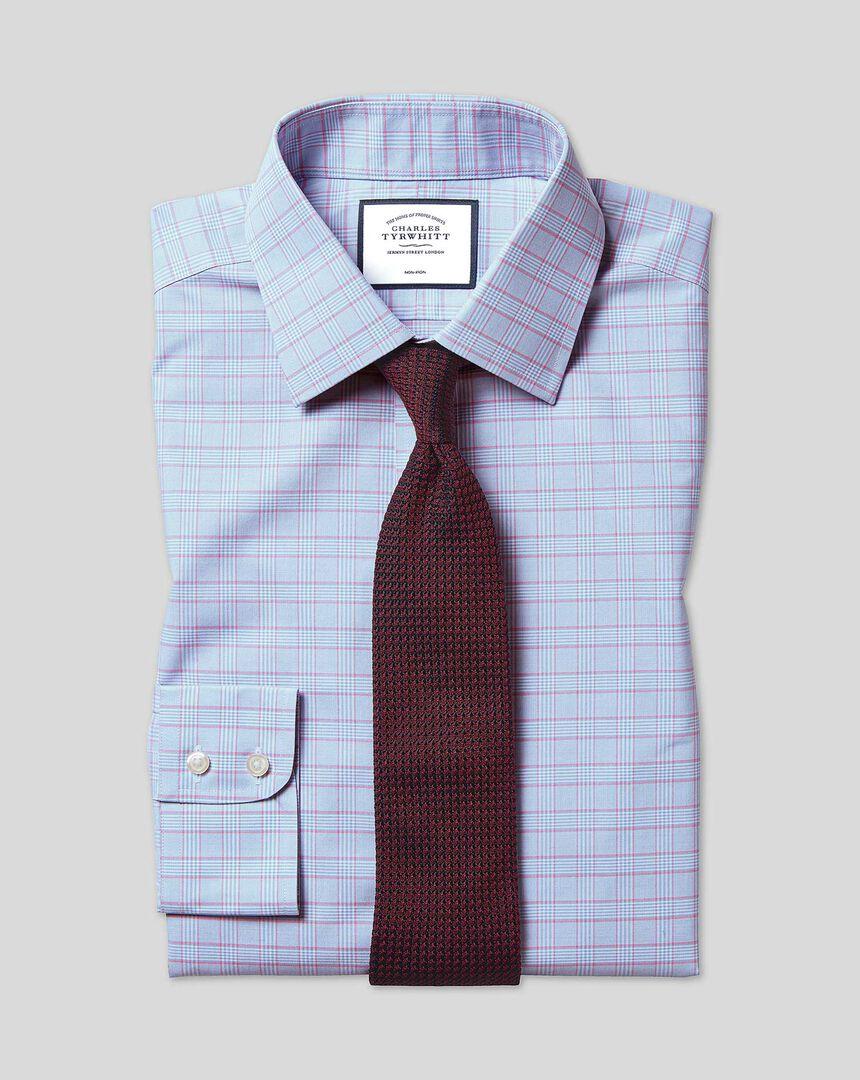 Bügelfreies kariertes Prince-of-Wales-Hemd mit Kent Kragen - Blau & Rosa