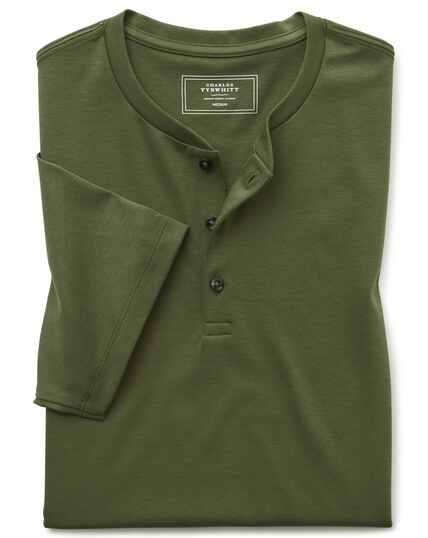 Olijfgroen Henley-T-shirt met korte mouwen