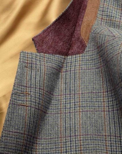 Slim fit green check luxury border tweed jacket