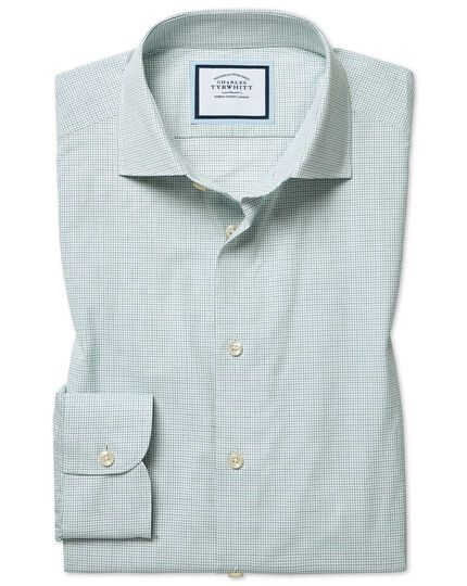 Classic fit peached Egyptian cotton green and blue check shirt