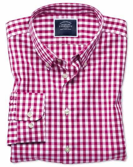 Bügelfreies Extra Slim Fit Popeline-Hemd in Rot mit Gingham-Karos