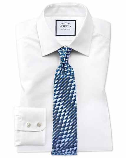 Classic Fit Hemd aus ägyptischer Baumwolle mit Gitterstruktur in Weiß