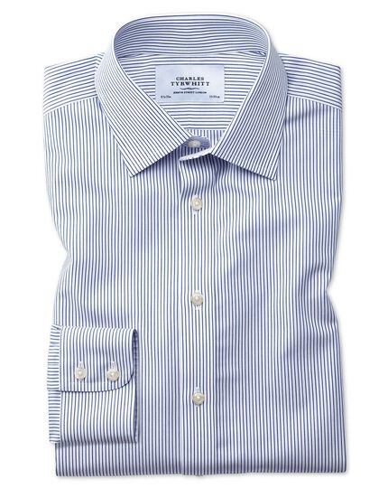 Slim fit non-iron stripe navy blue shirt