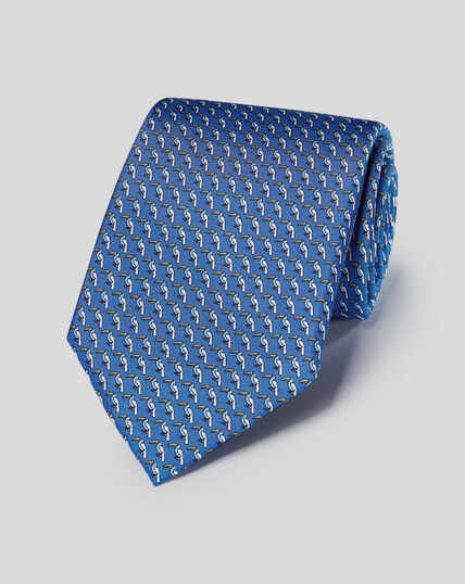 Toucan Silk Print Classic Tie - Royal Blue & Sky