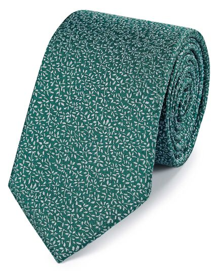 Teal silk micro leaf classic tie