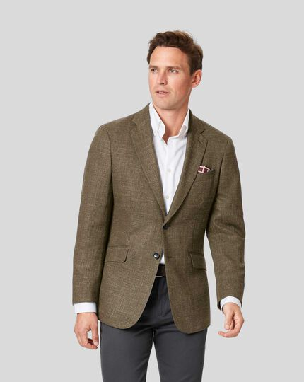 Basketweave Textured Jacket - Tan