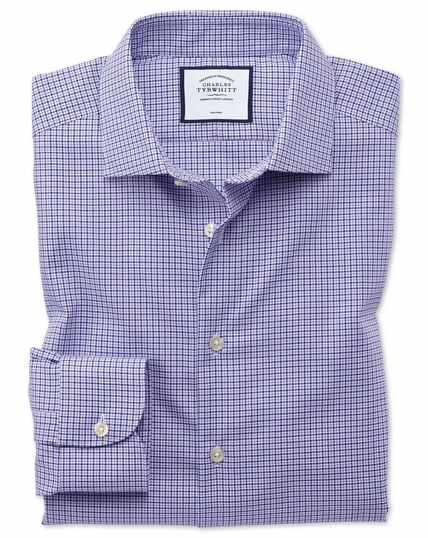 Classic fit business casual non-iron puppytooth modern texture lilac shirt
