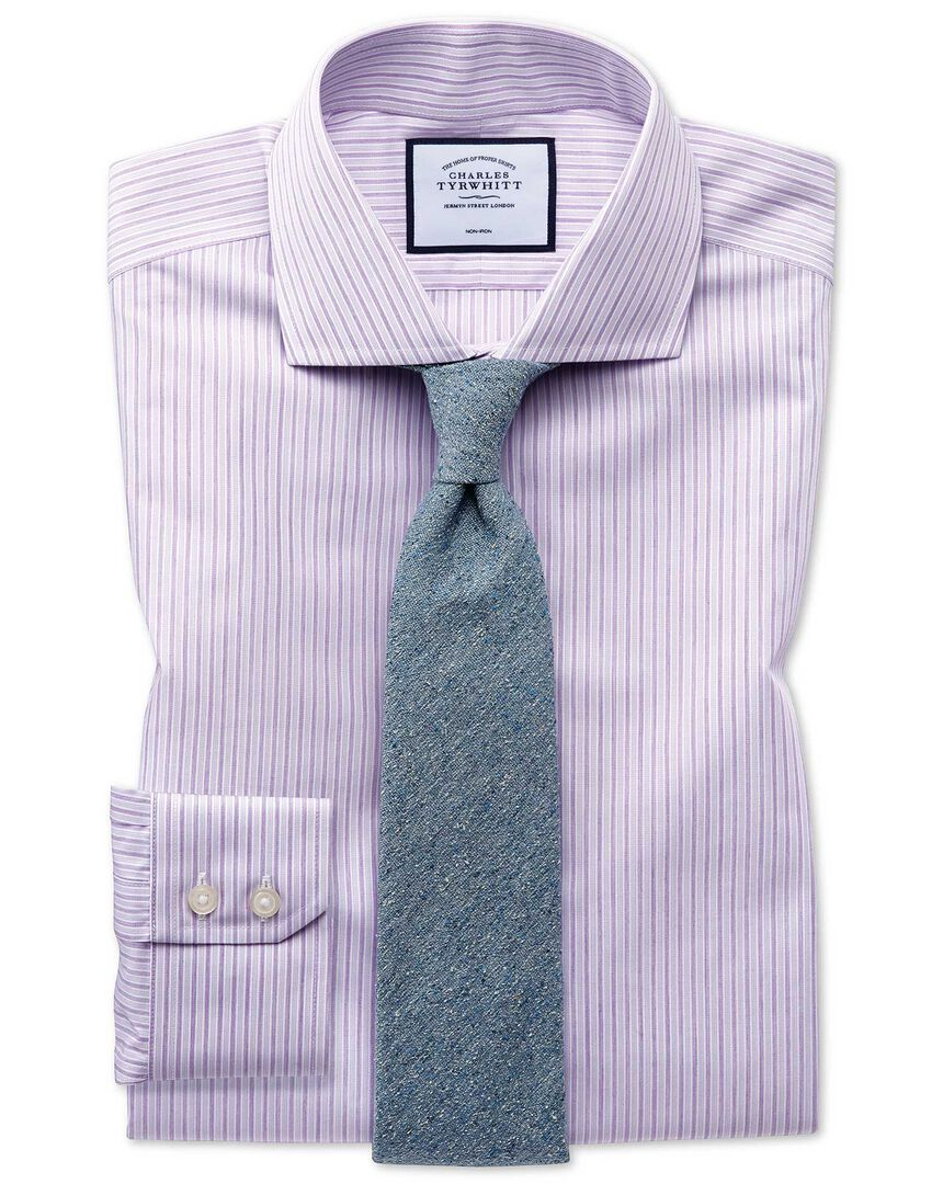 Slim fit non-iron shadow stripe purple shirt
