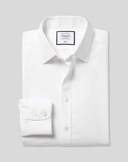 Classic Collar Non-Iron Mini Herringbone Shirt - White