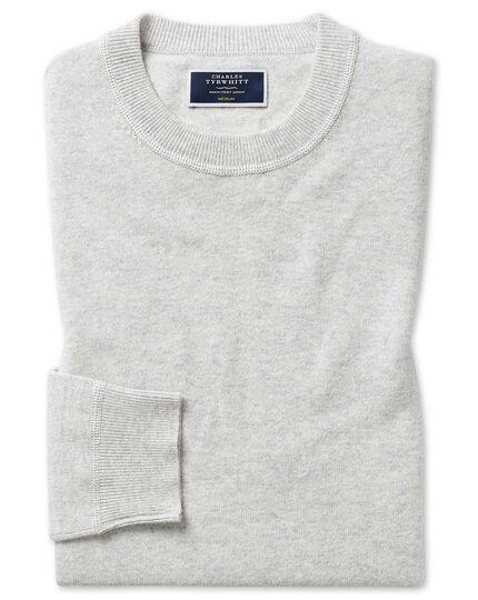 Silver merino cashmere crew neck sweater