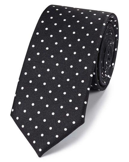 Cravate slim classique noire et blanche en soie à pois imprimés