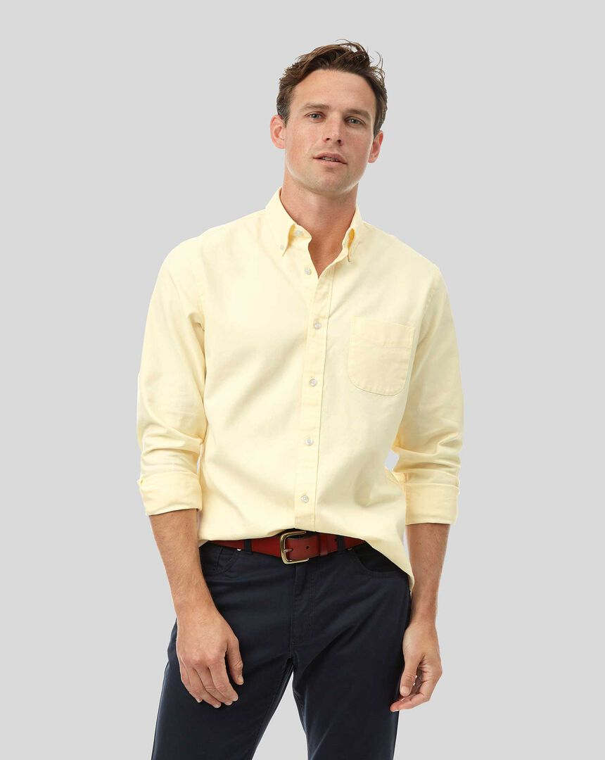 Oxfordhemd mit Button-down-Kragen - Hellgelb