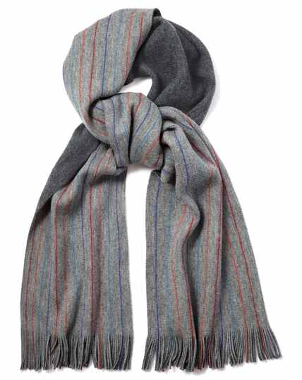 Grey stripe merino scarf