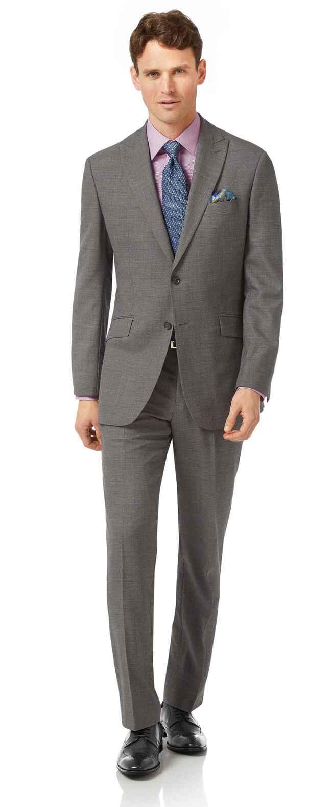 Grey classic fit jaspe business suit