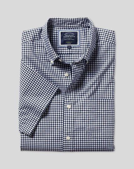 Button-Down Collar Non-Iron Stretch Poplin Gingham Short Sleeve Shirt - Navy