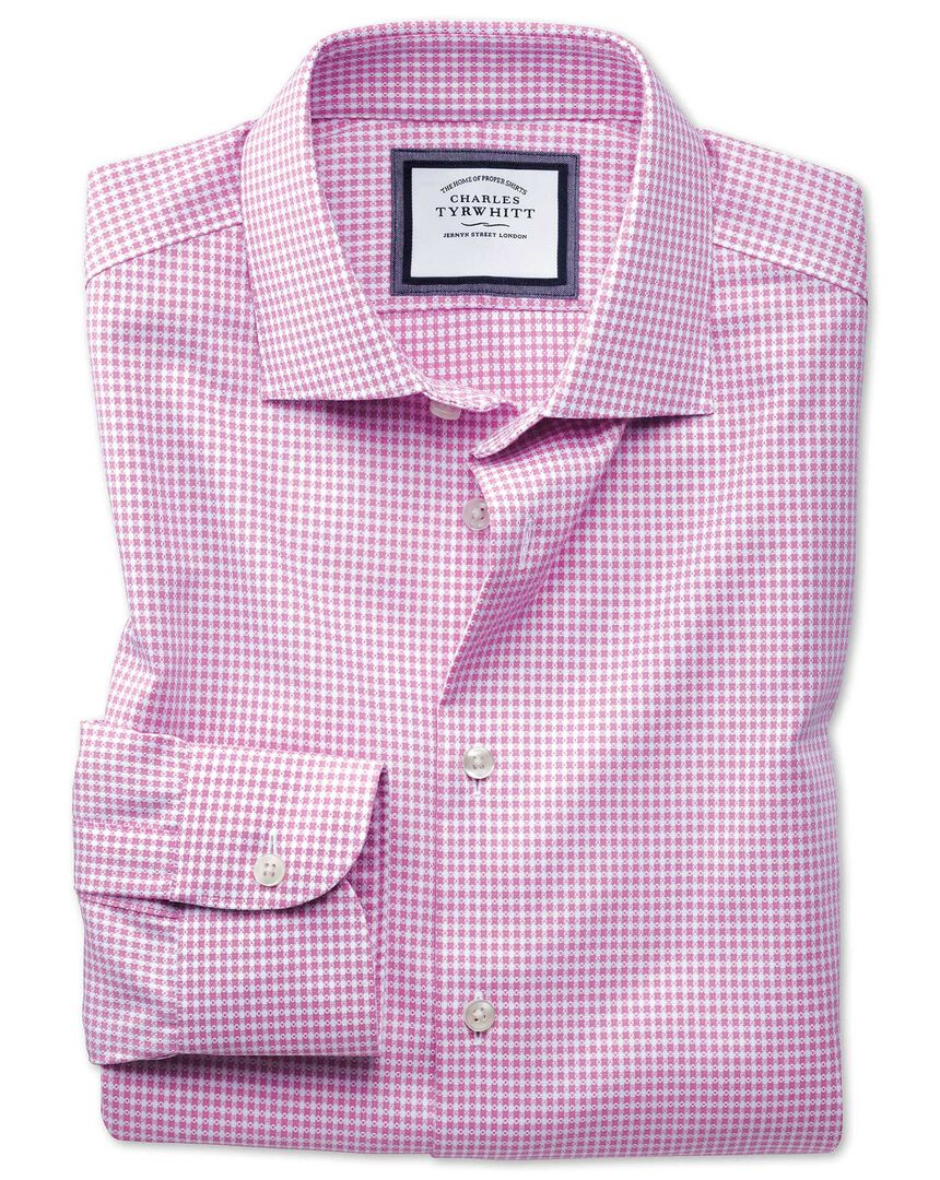 Slim fit semi-spread collar business casual non-iron modern textures pink and white spot shirt