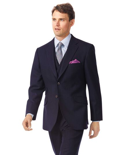 Navy classic fit British luxury suit jacket