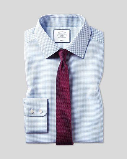 Bügelfreies Twill Hemd mit Kent Kragen und Mini-Gitterkaros - Himmelblau